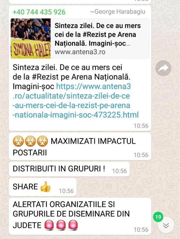Mesaj postat de George Harabagiu pe un grup PSD de pe WhatsApp