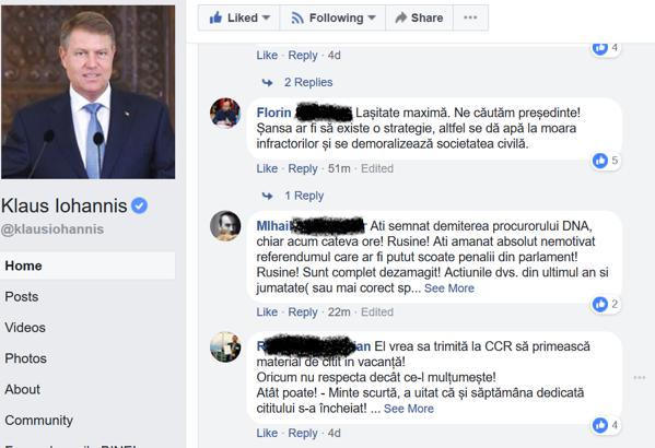 Captură comentarii facebook critici Klaus Iohannis
