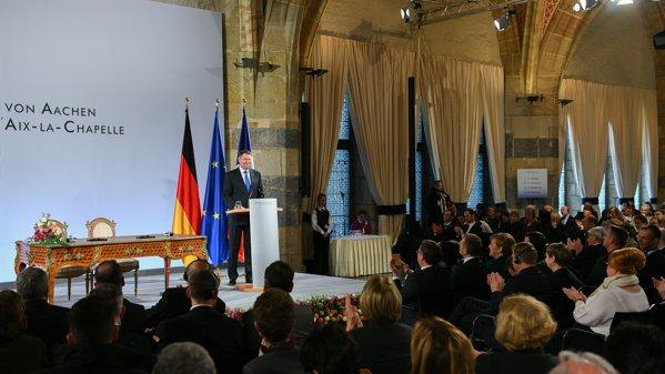 Klaus Iohannis, la semnarea Tratatului franco-german de la Aachen