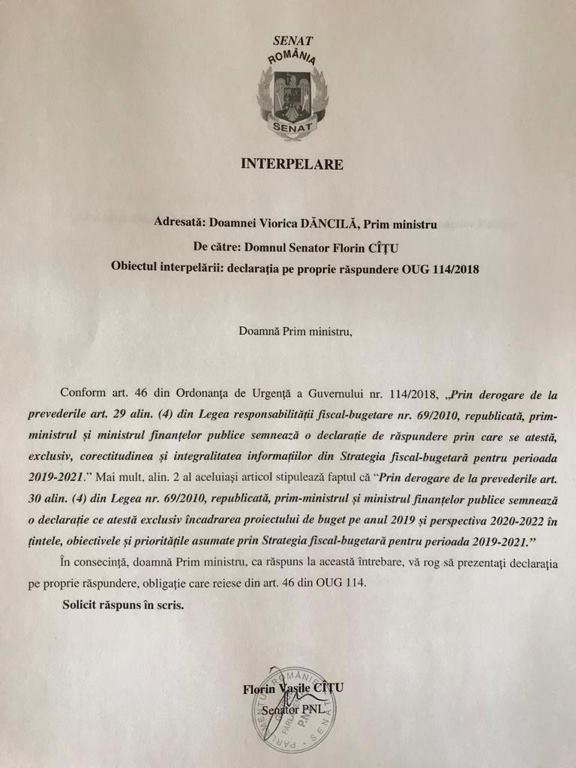 Un senator PNL cere ca Dăncilă şi Teodorovici să prezinte declaraţiile din OUG 114