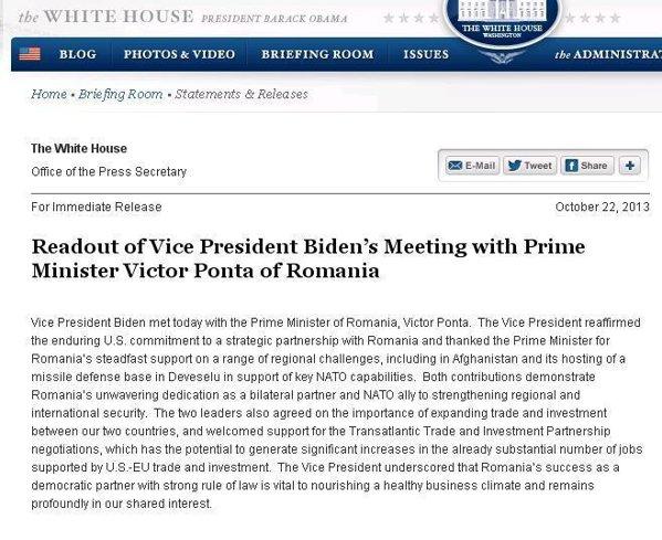 Vizitele în SUA. De ce premierul Ponta nu joacă în aceeași ligă cu președintele Băsescu. Biden