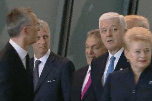 Gest grosolan al lui Donald Trump la summitul NATO: îl îmbrânceşte pe premierul Muntenegrului pentru a ajunge primul în faţă