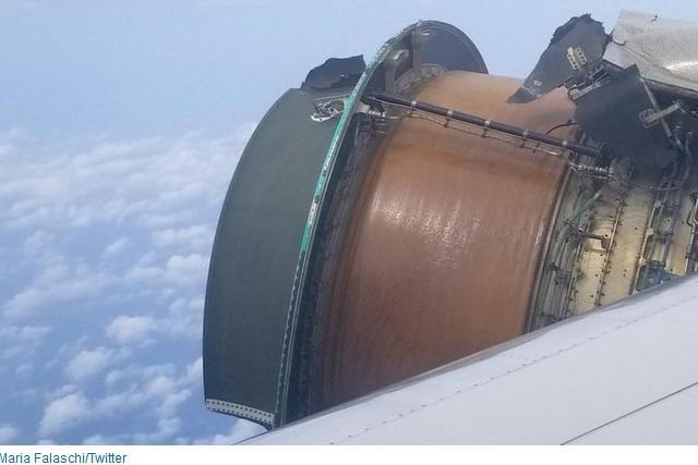 Pasagerii unei curse United Airlines au trăit clipe de coşmar, după ce unul din motoarele avionului în care zburau a început să se dezintegreze