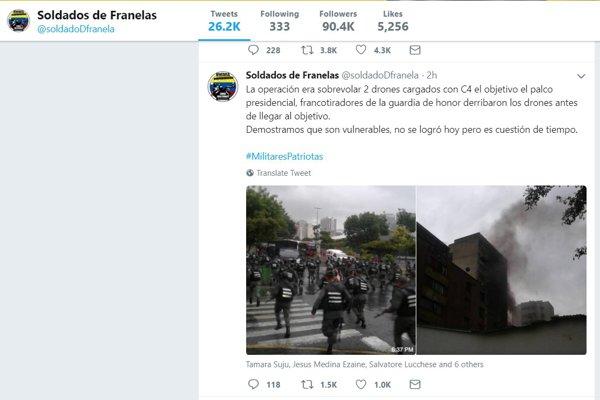 Soldados de Franelas, mesaj pe twitter despre atentatul împotriva lui Nicolas Maduro