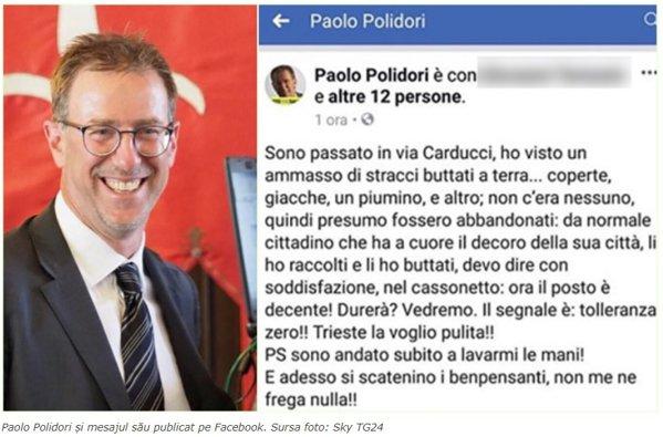 Mesajul primarului din Trieste, şters ulterior. Foto captura rotalianul.ro