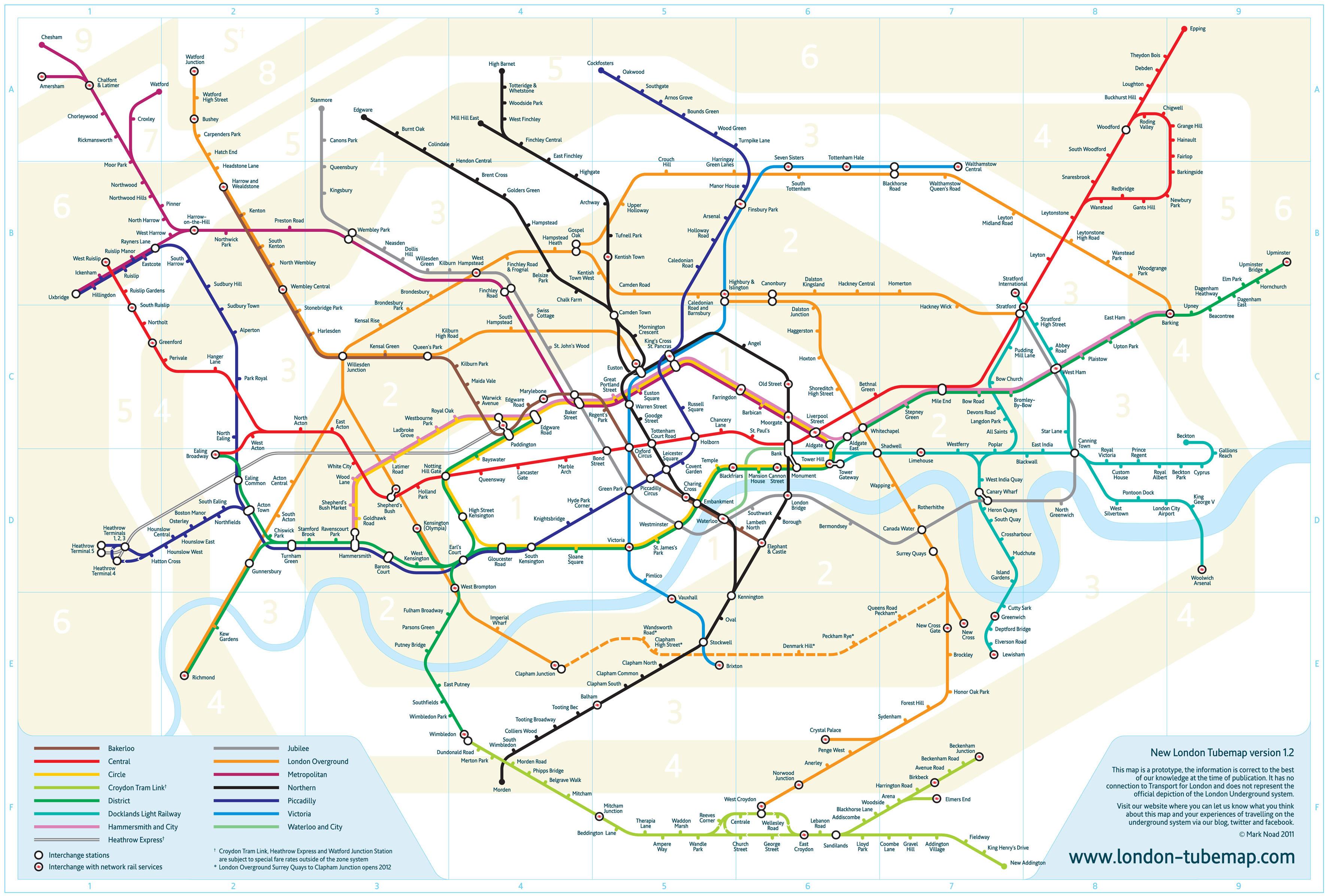Harta Metroului Londonez Redesenată După Un Secol Plus Cum Stă