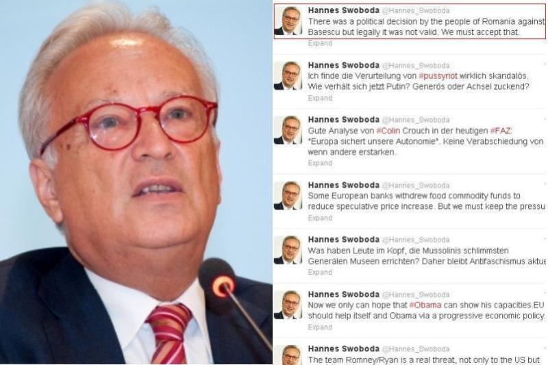 Socialistul Hannes Swoboda, reacţie la decizia CCR: Trebuie să acceptăm că decizia poporului român împotriva lui Băsescu NU ESTE VALIDĂ