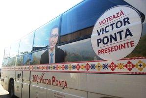 """Cum te plimbi cu """"Votează Victor Ponta Preşedinte"""" în cursele din Teleorman. Cât e biletul"""