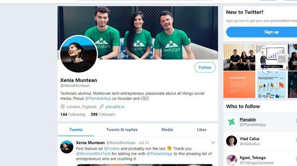 Xenia Muntean cont de twitter