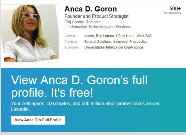 Anca Goron, cont LinkedIn