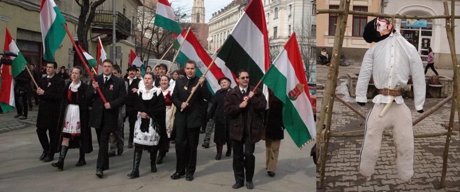 Ziua Maghiarilor: Un extremist l-a spânzurat pe Avram Iancu la Miercurea Ciuc. Mai mulţi lideri UDMR au depus jurământul de credinţă faţă de Ungaria. VIDEO