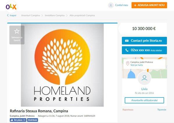 Homeland Properties vinde Rafinăria din Câmpina pe olx