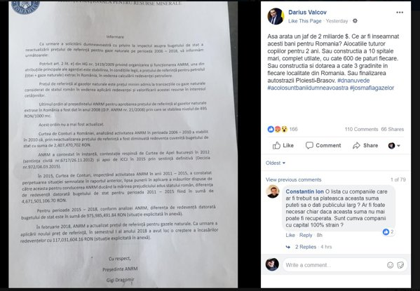 Informarea ANRM, pe pagina de Facebook a lui Darius Vâlcov