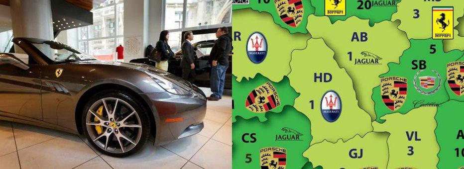 Harta MAŞINILOR de LUX din România. Câte automobile premium s-au cumpărat în ultimii doi ani în judeţul tău