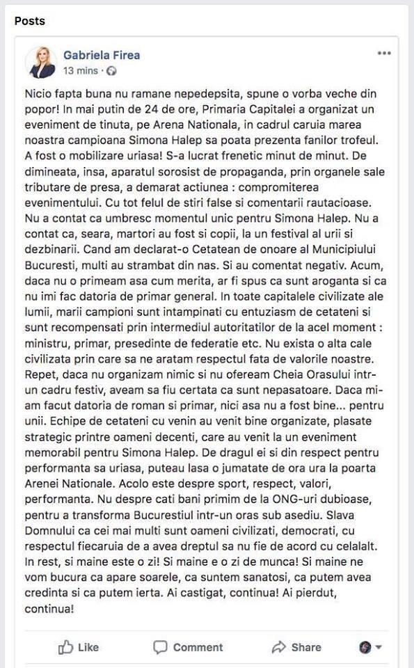 Ultima postare pe Facebook a Gabrielei Firea, inainte de a-si sterge contul