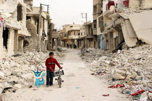 Pikachu şi Vaporeon, la Alep