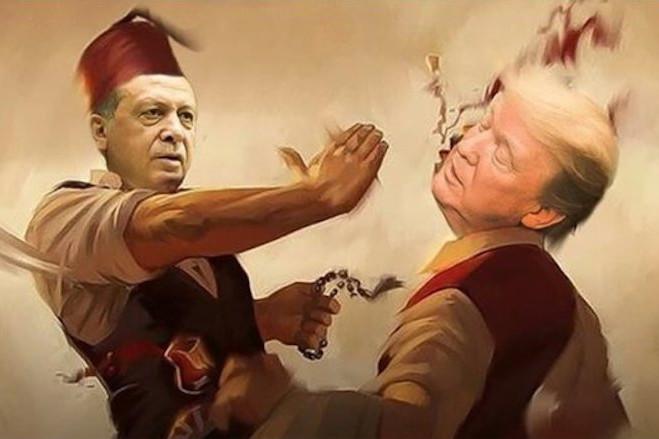 Sultan Erdoğan îi arată lui Trump palma otomană (osmanlı tokadı)