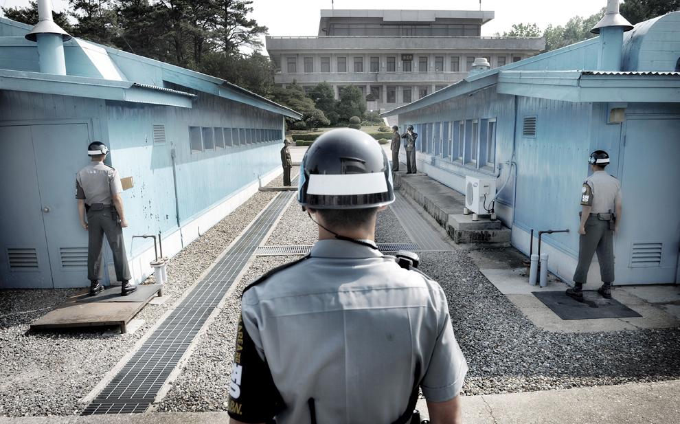 Imagine din zona demilitarizată ce separă cele doua Corei, în Panmunjom, vineri, 1 iunie 2012