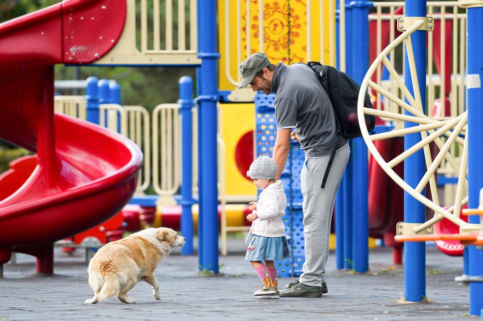 Un barbat şi o fetiţă se uită la un câine, într-un loc de joacă pentru copii, în parcul Alexandru Ioan Cuza din Bucureşti, vineri, 6 septembrie 2013.