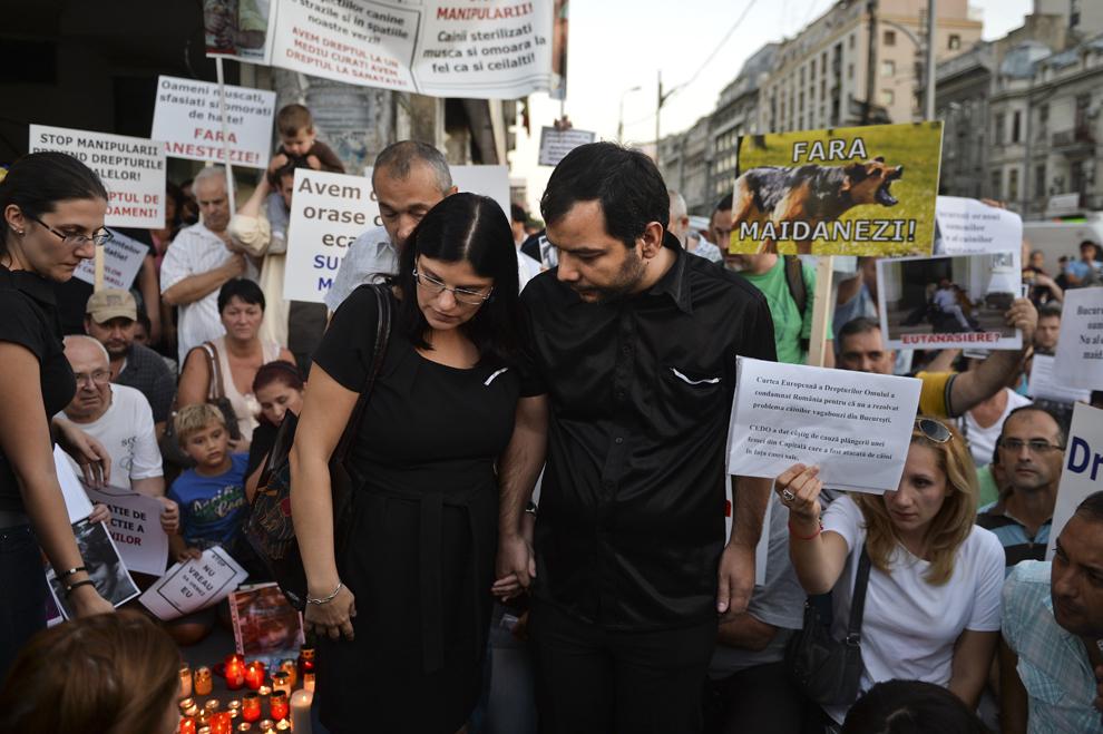 Andreea Felicia Anghel (S) si Valentin Anghel (D) părinţii lui Ionuţ Anghel, copilul de 4 ani care a murit luni, 2 septembrie, dupa ce a fost atacat de câini maidanezi, discută cu jurnaliştii, în timpul unui miting de susţinere organizat de Pro Civilizaţie Secolul 21, în Piaţa Romană din Bucureşti, vineri, 6 septembrie 2013.