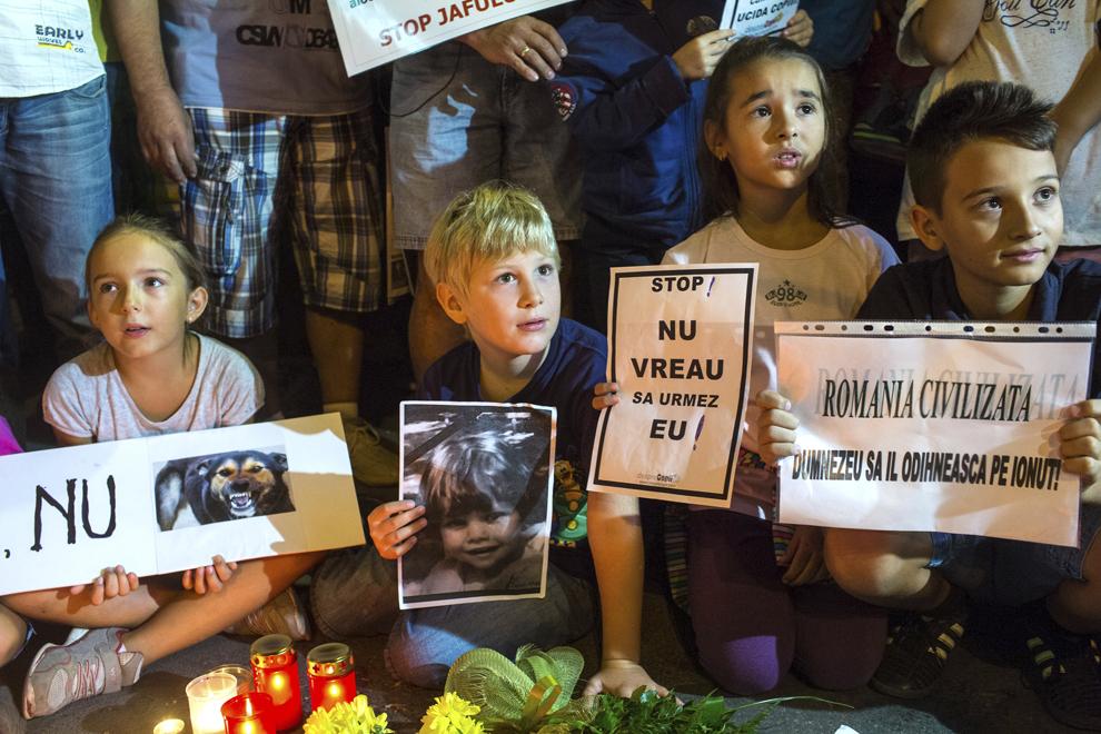 Persoane participă la un miting de susţinere a familiei copilului ucis de maidanezi în zona Parcului Tei, organizat de Pro Civilizaţie Secolul 21, în Piaţa Romană din Bucureşti, vineri, 6 septembrie 2013.