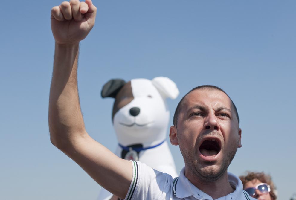 Un bărbat, care se opune eutanasierii câinilor maidanezi, protestează la intrarea în Palatul Parlamentului, manifestaţia având loc în timp ce parlamentarii votează Legea privind câinii fără stăpân, în Bucureşti, marţi, 10 septembrie 2013.