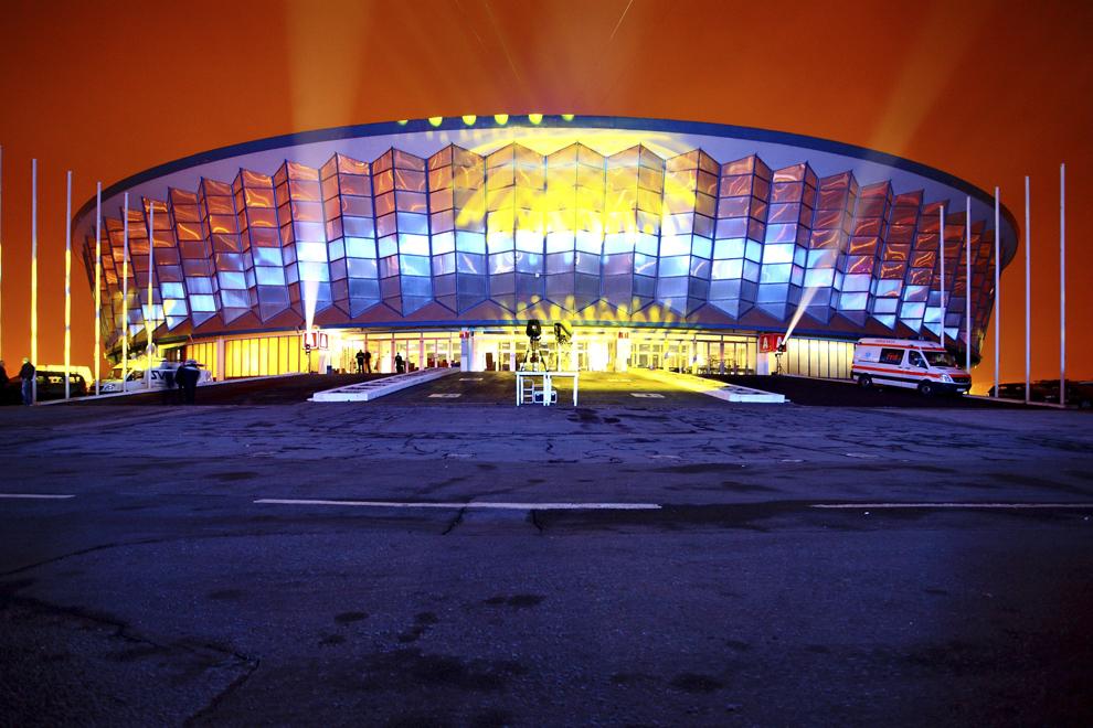 Complexul Romexpo, unde are loc Revelionul organizat de primarul Marian Vanghelie, în Bucureşti, miercuri, 1 ianuarie 2014.