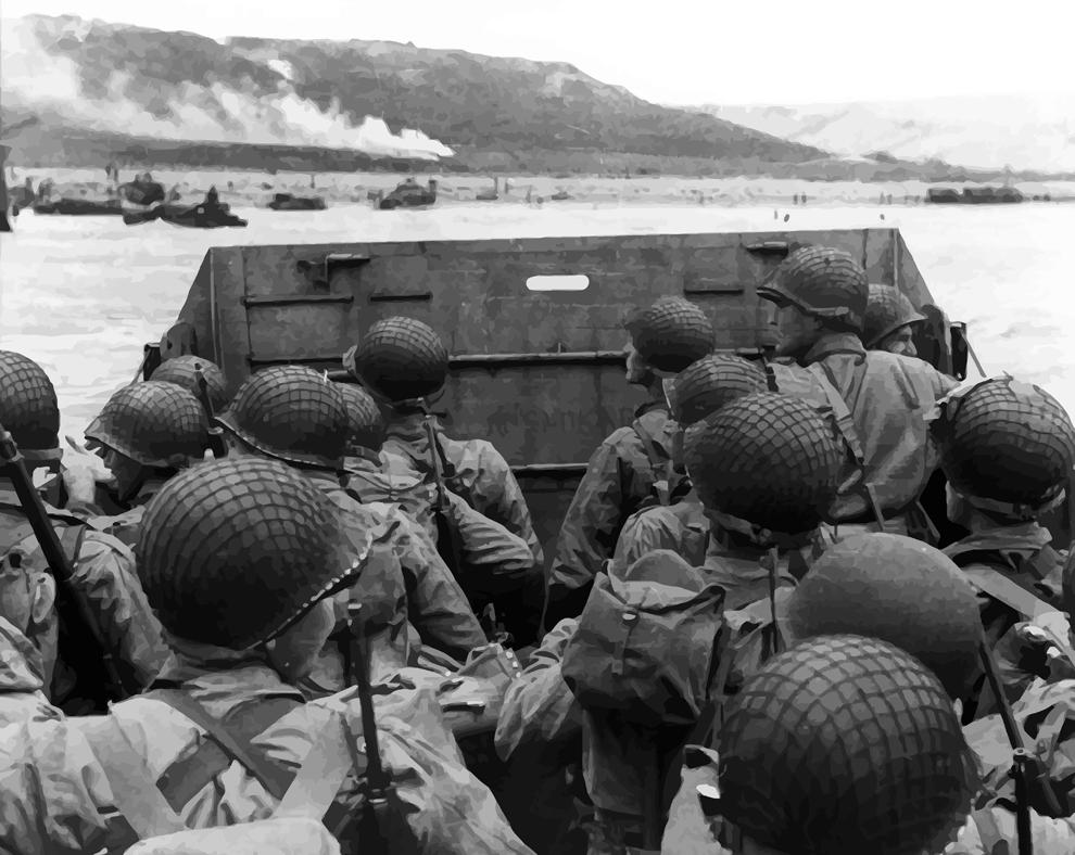 Trupe americane aflate într- o ambarcaţiune se pregătesc pentru debarcarea de pe 6 iunie 1944.