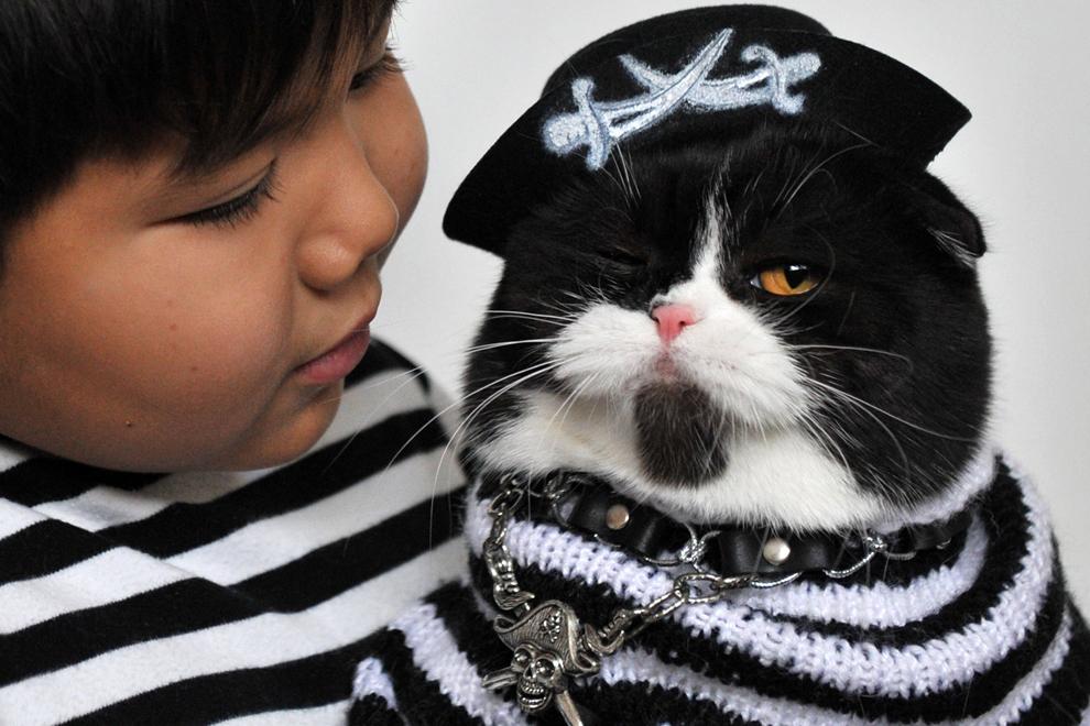 Un baieţel ţine în braţe o pisică din rasa Scottish Fold îmbrăcată într-un costum de pirat, în timpul unei expoziţii feline în Bişkek, Kârgâzstan, duminică, 14 octombrie 2012.
