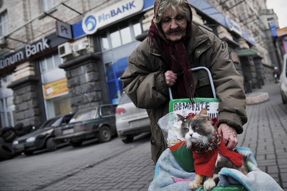 O femeie îşi îngrijeşte pisica pe o stradă din centrul Kievului, luni, 24 februarie 2014.