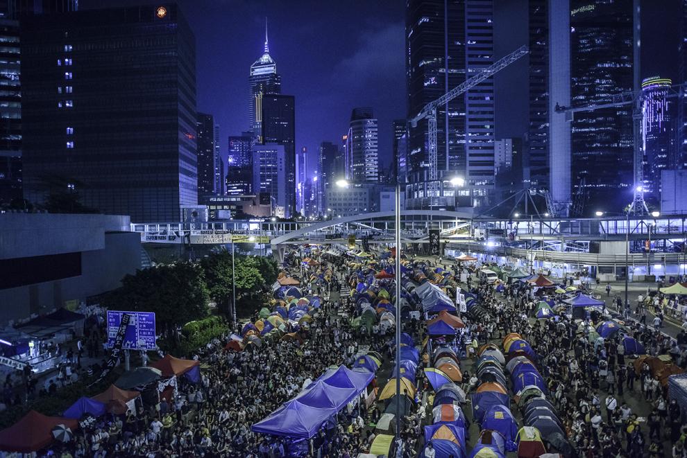 Protestatari pro-democraţie ocupă districtul Admiralty din Hong Kong, vineri, 24 octombrie 2014.