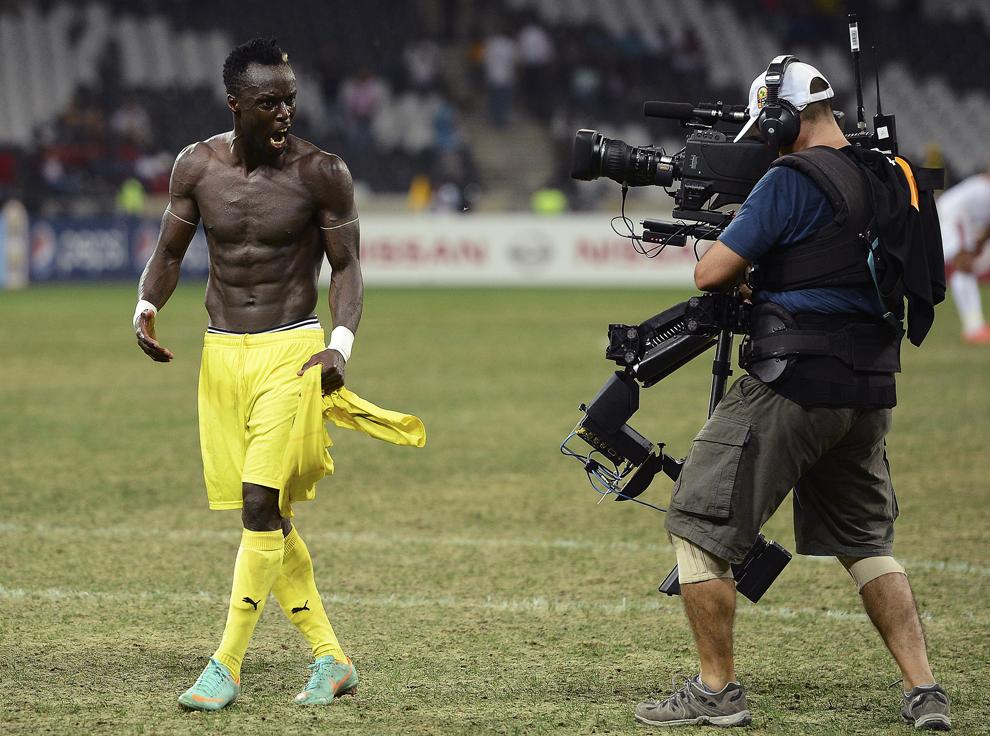 Mijlocaşul togolez Komlan Amewou reacţionează în timpul meciului dintre naţionalele Tunisiei si a Togoului din cadrul grupei D a Cupei Africii pe Naţiuni, în Nelspruit, Africa de Sud, miercuri, 30 ianuarie 2013.