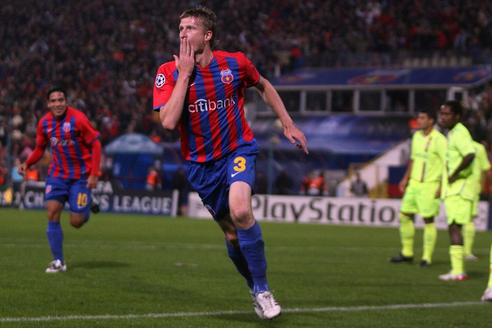 Dorin Goian, de la Steaua Bucureşti, se bucură după marcarea unui gol, în meciul cu Olympique Lyon, din cadrul etapei a treia a grupei F a Ligii Campionilor, în Bucureşti, marţi, 21 octombrie 2008.