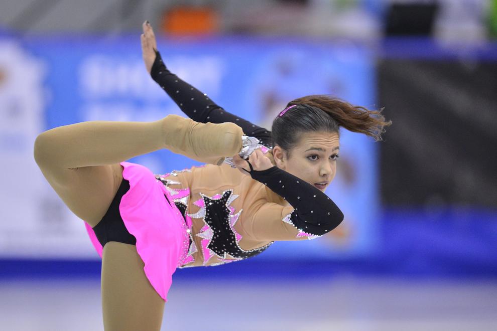 Amani Fancy (Anglia) concurează în proba de patinaj artistic, programul scurt, din cadrul Festivalului Olimpic al Tineretului European (FOTE 2013), în Poiana Braşov, miercuri, 20 februarie 2013.