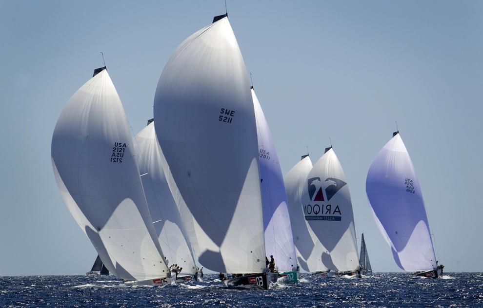 Bărci cu pânze pot fi văzute în timpul celei de-a 32-a ediţii a Copa del Rey Regatta, în Palma de Mallorca, Spania, marţi, 30 iulie 2013.