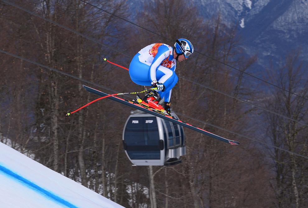 Werner Heel,  Italia, concurează în proba masculină de schi alpin-coborâre din cadrul Jocurilor Olimpice de Iarnă, în Rosa Hutor, Rusia, duminică, 9 februarie 2014.