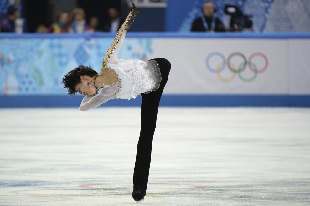 Yuzuru Hanyu, Japonia, evoluează în proba masculină de patinaj artistic program liber, în timpul Olimpiadei de Iarnă de la Soci, februarie 14, 2014.