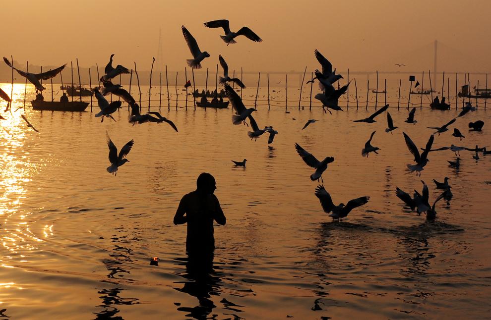 Un adept hindus se scufundă în Sangam, la confluenţa râurilor Gange, Yamuna şi Saraswati, joi, 24 ianuarie 2013. Peste 100 milioane de credincioşi se vor aduna pentru a se îmbăia în apele sfinte. (Sanjay Kanojia / AFP)
