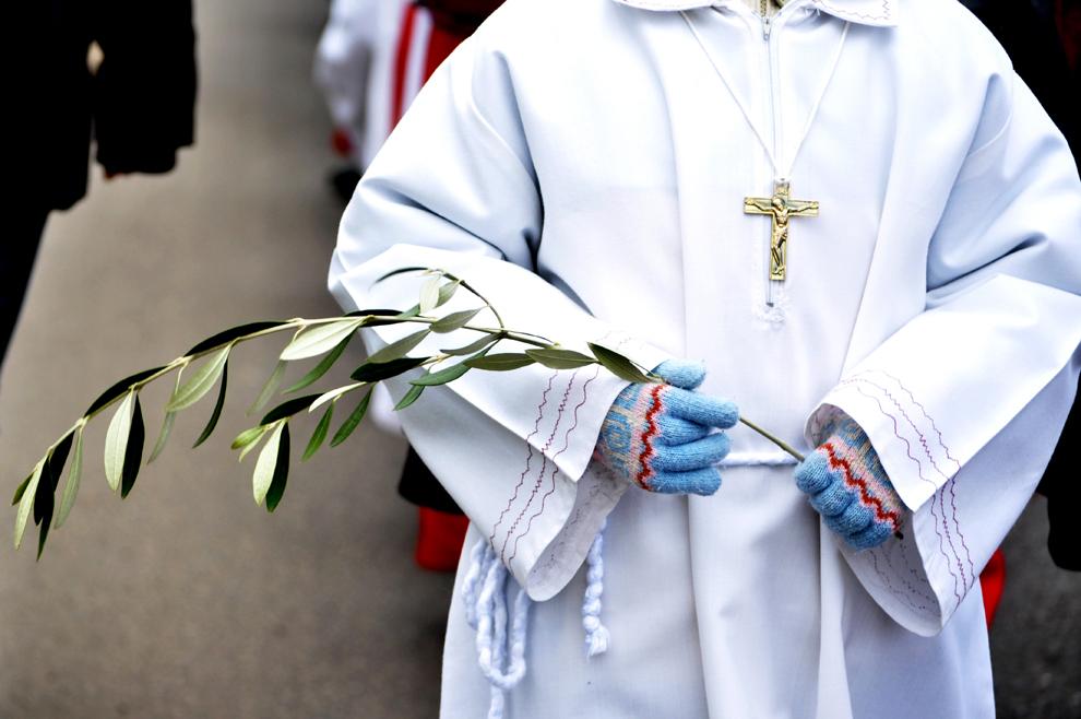 Un copil ţine în mână o ramură de măslin în timpul procesiunii catolice de Florii, organizată de Arhiepiscopia Romano-Catolică, în Bucureşti, duminică 24 martie 2013.