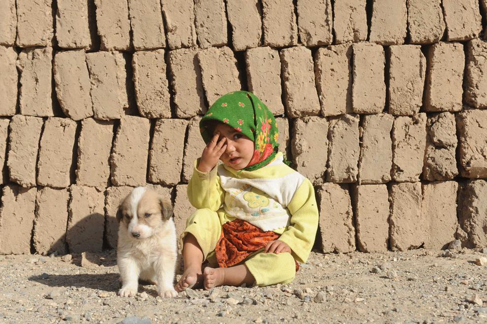 Un copil afgan stă lângă un caţel, la o fabrică de cărămizi aflată la periferia Herat, luni, 5 noiembrie 2012.