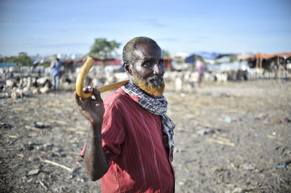 Un bărbat somalez stă lângă turma sa de capre, în piaţa de animale din Bakara, Mogadishu, Somalia, sâmbătă, 13 aprilie 2013.
