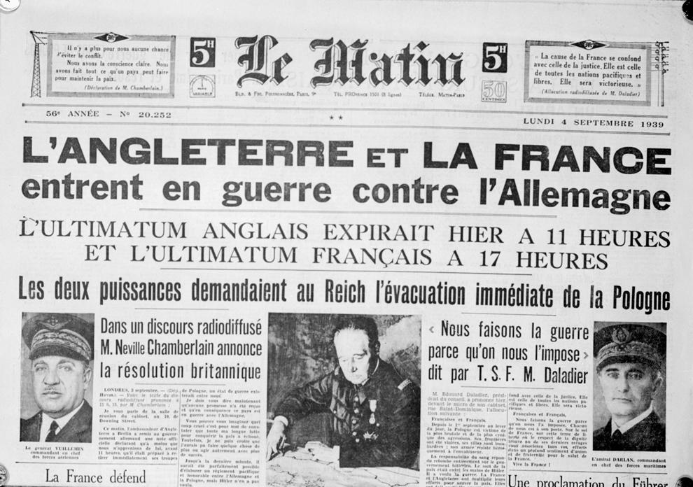 """Fotografie reprezentând un exemplar al ziarului """"Le Matin"""", care anunţă declanşarea celui de-al doilea război mondial, la 4 septembrie 1939."""