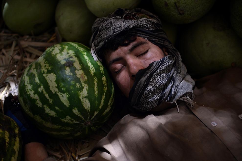Un vânzător afgan doarme lângă un pepene verde în timp ce îşi aşteaptă clienţii, într-o piaţă de fructe din Kabul, miercuri, 24 iulie 2013.