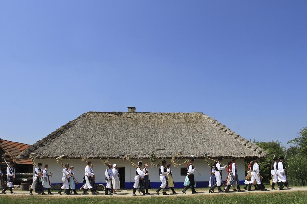 Oameni iau parte la un festival dedicat recoltei, în Straznice, Moravia de Sud, Cehia, duminică, 28 iulie 2013.