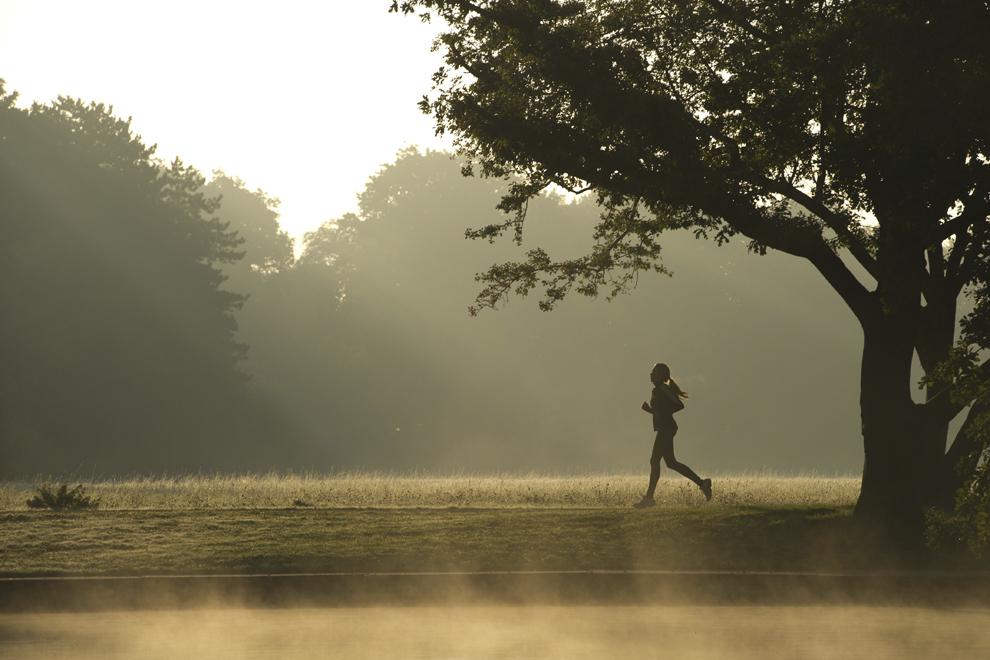 O femeie aleargă prin parcul Grosser Garten din Dresda, Germania, miercuri, 2 octombrie 2013.