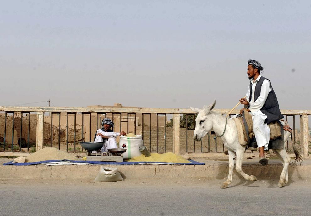 Un bărbat călare pe un măgar trece prin faţa unui vânzător de orez, în Mazar-i-Sharif, luni, 21 octombrie 2013.