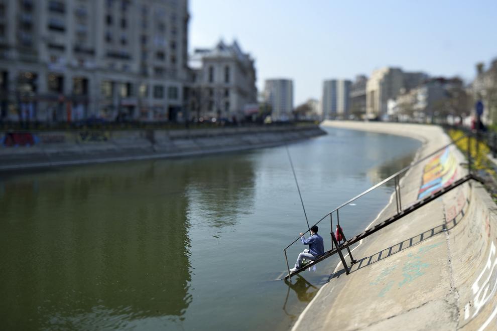 Pescar pe râul Dâmboviţa, sâmbătă,  martie 2013.