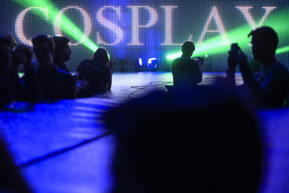 Mai multe persoane aşteaptă evoluţia cosplayer-ilor pe scena DreamHack 2014, în Bucureşti, duminică, 27 aprilie 2014.