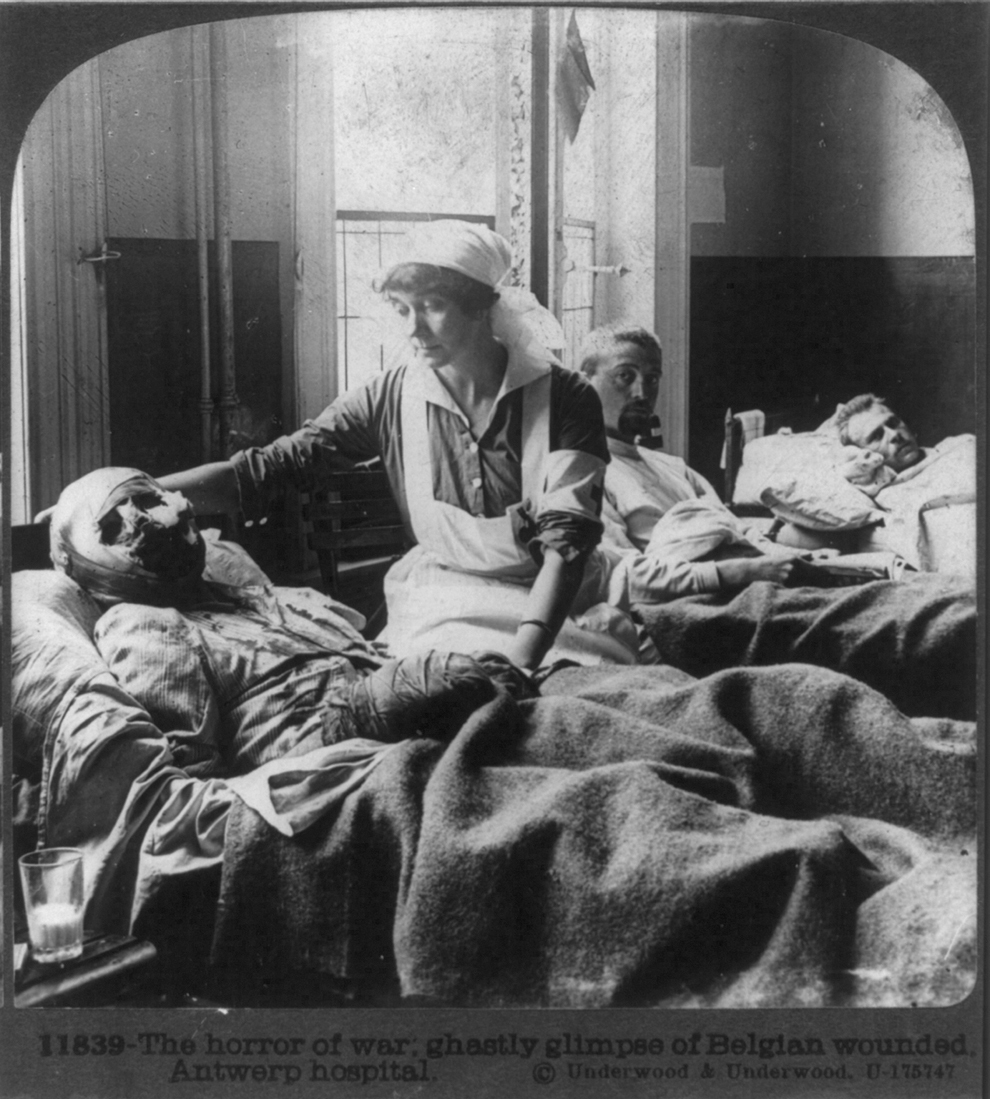 Orori ale războiului, spitalul Antwerp, Belgia, 18 mai 1915.
