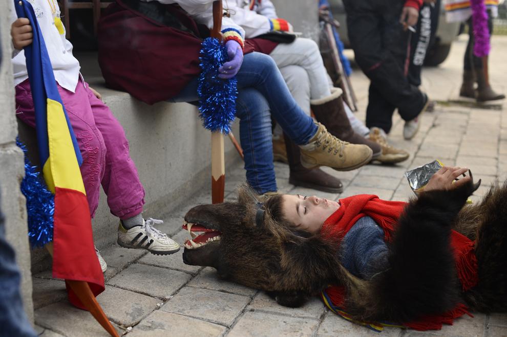 Florin Borş, 8 ani, costumat în urs, din comuna Dofteana, judeţul Bacău, se odihneşte pe o stradă din centrul Bucureştiului, marţi, 15 decembrie 2014.